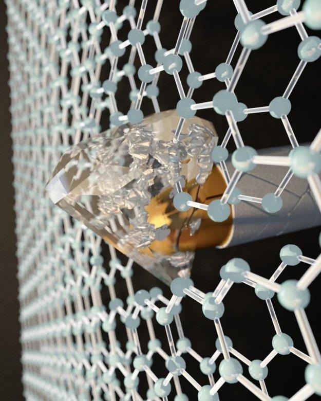 Vedcom sa podarilo premeniť v určitých podmienkach dve vrstvy grafénu na diamantu podobný materiál, ktorý by mal zastaviť aj náboj.