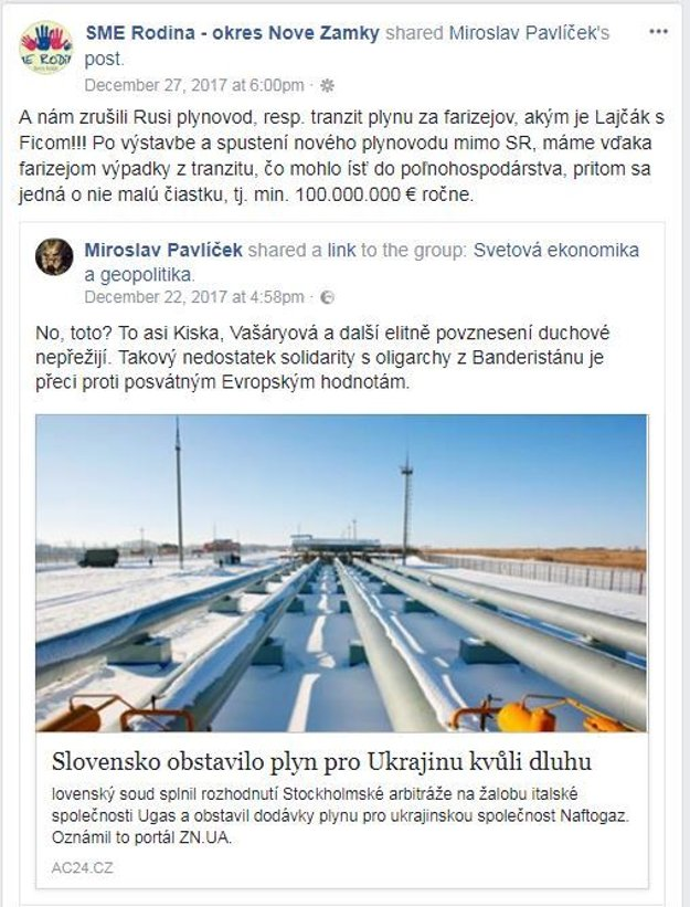 Kollárova Sme rodina šíri dezinformáciu o zastavení dodávok plynu na Ukrajinu.