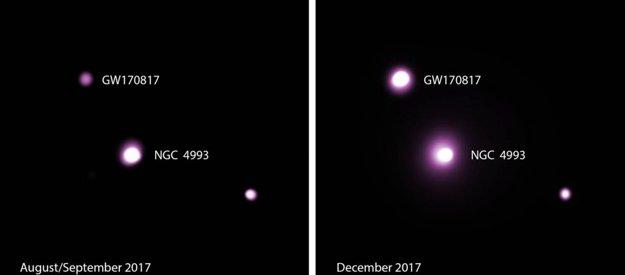 Pozorovania zrážky neutrónových hviezd na prelome augusta a septembra (vľavo) a v decembri (vpravo) ukazuje nečakane jasnejší dosvit, než sme predpokladali.