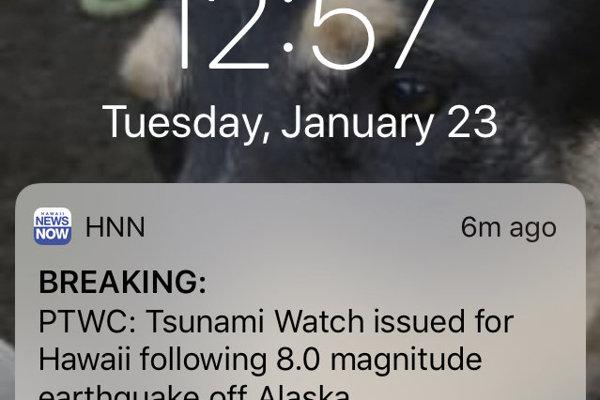 Výstraha pred tsunami.