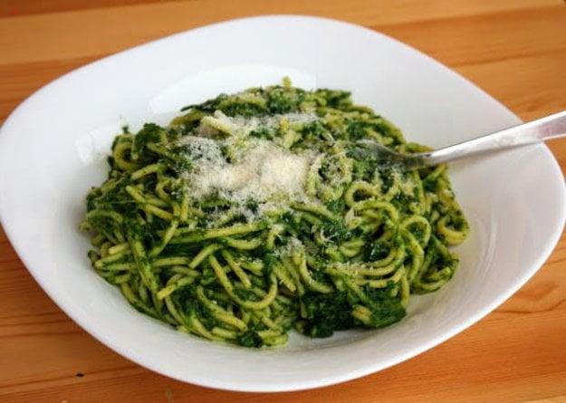 Špagety so špenátom