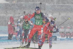 Na snímke slovenská biatlonistka Anastasia Kuzminová v štafete žien na 4x6 km na ZOH 2018.