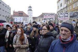 Piatkový protest v Trenčíne, 9. marca 2018.