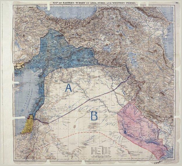 Mapa, ktorá v roku 1916 rozdelila Blízky východ. Územie A ostalo pod kontrolou Francúzska, B pod kontrolou Británie.