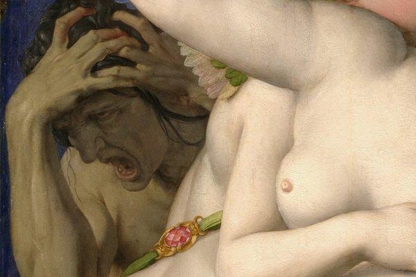 Stará žena na obraze Venuša, Amor, blázon a čas, ktorá vyobrazuje žiarlivosť.