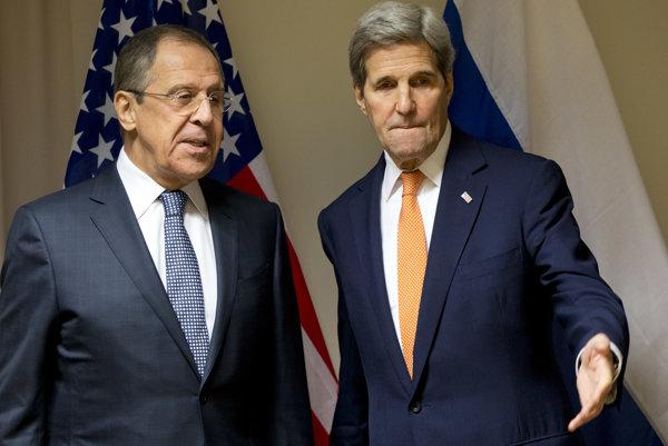 Ministri zahraničných vecí Ruska a USA, Lavrov a Kerry.