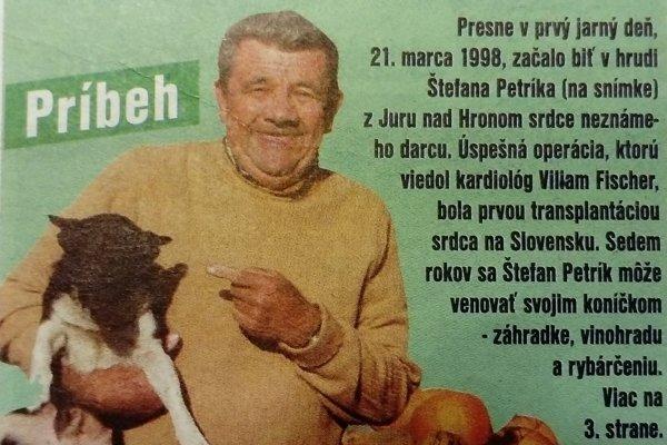 Príbeh o Štefanovi Petríkovi priniesli regionálne noviny MY Týždeň na Pohroní v októbri 2005.