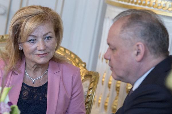 Ľ. Laššáková v rozhovore s prezidentom A. Kiskom