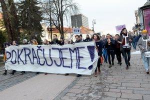 Pochod v centre Košíc.