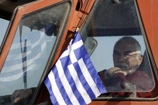 Protestujúci traktorista.