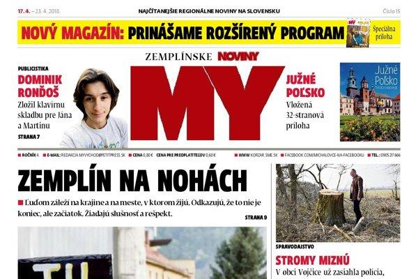 Titulná strana týždenníka MY Zemplínske noviny č. 15/2018.