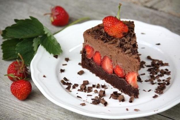Čokoládovo jahodová torta bez múky