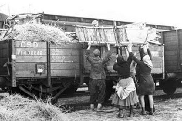 Maďari zo Slovenska nakladajú pred odsunom na železničný vagón svoj majetok.