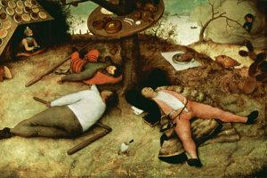 Ľudskú pohodlnosť pranieroval už flámsky maliar Pieter Brueghel.