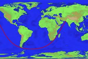 Vedecky potvrdená najdlhšia priama trasa medzi dvoma bodmi na súši. Vedie z Pakistanskej pláže na polostrov Kamčatka.