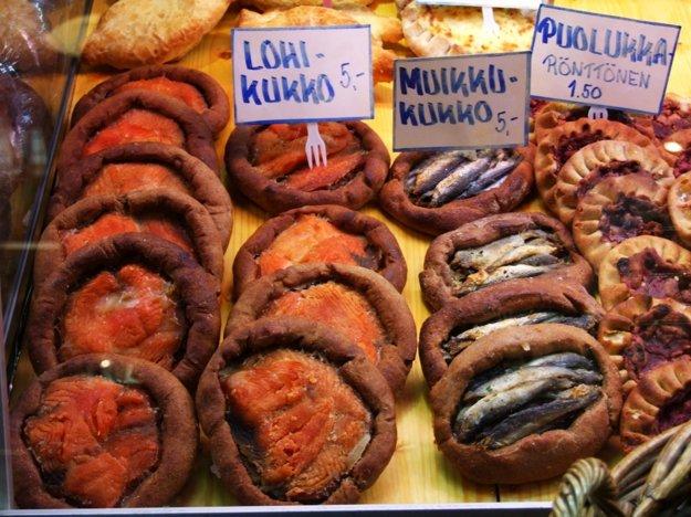 Tradičný rybací koláč na trhovisku