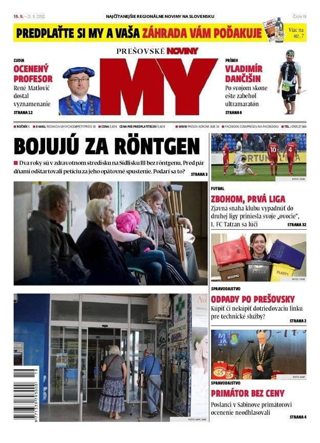 Titulná strana týždenníka MY Prešovské noviny č. 19/2018.