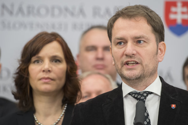 Veronika Remišová a Igor Matovič z hnutia OĽaNO.
