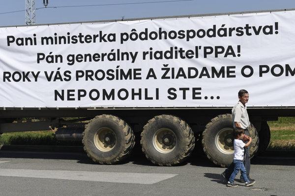 Protest traktoristov v Košiciach.