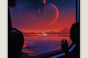 Plagát k planéte TRAPPIST-1e. Sústava sa nachádza takmer 40 svetelných rokov ďaleko. Planéta sa nachádza v obývateľnej zóne hviezdy.