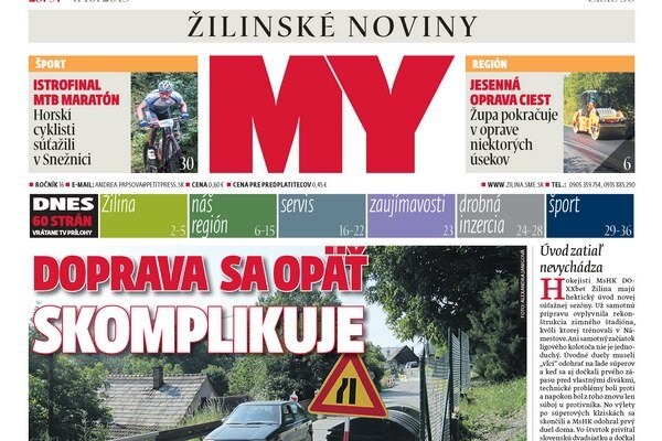 Titulka aktuálneho vydania týždenníka MY Žilinské noviny.