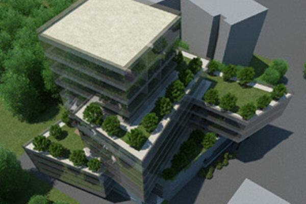 Takto má vyzerať budova, ktorú chce investor postaviť v parku v centre mesta.