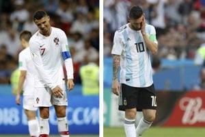 Lionel Messi (vpravo) aj Cristiano Ronaldo na svetovom šampionáte skončili v osemfinále.