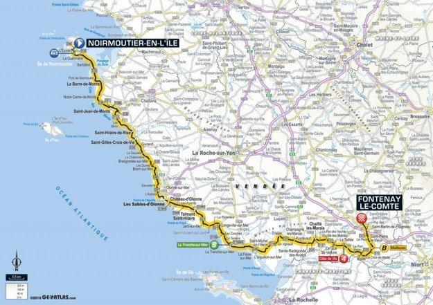 Mapa 1. etapy Tour de France 2018