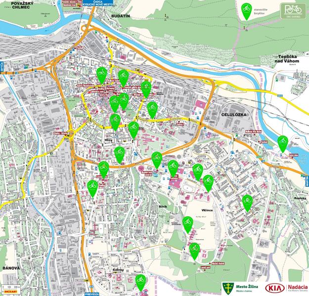 Mapa bikesharingu v Žiline.