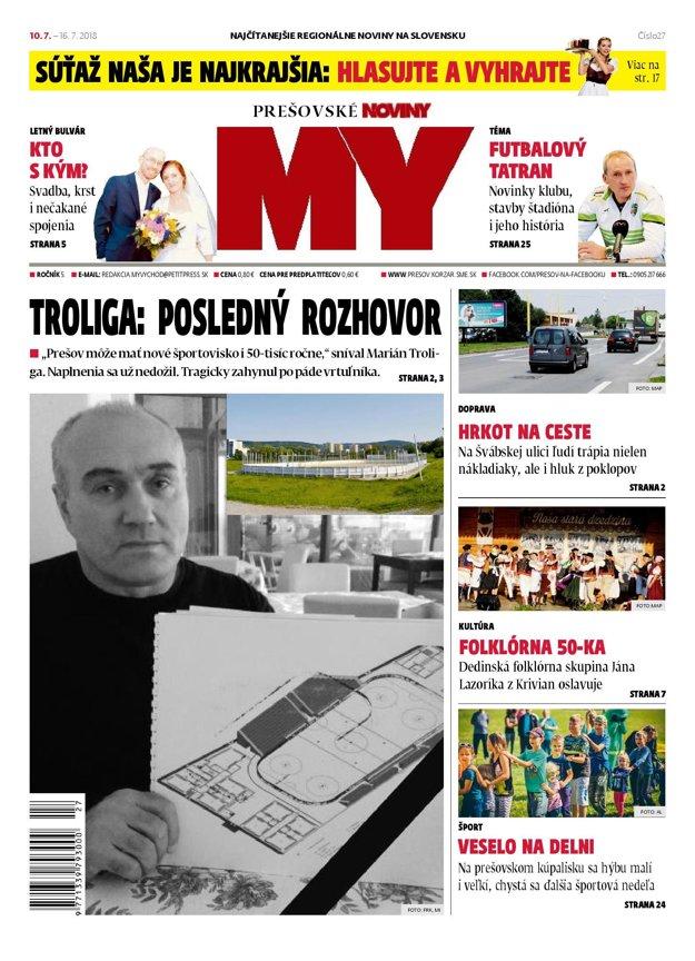 Titulná strana týždenníka MY Prešovské noviny č. 27/2018.
