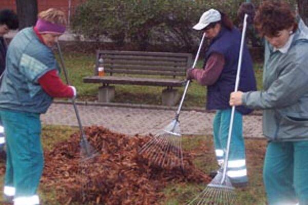 O čistotu parku v centre mesta sa strará partia žien z T+T. Padajúce lístie pôsobí síce romaticky, ale keď naprší, listy sa zmenia na mazľavú kašu.