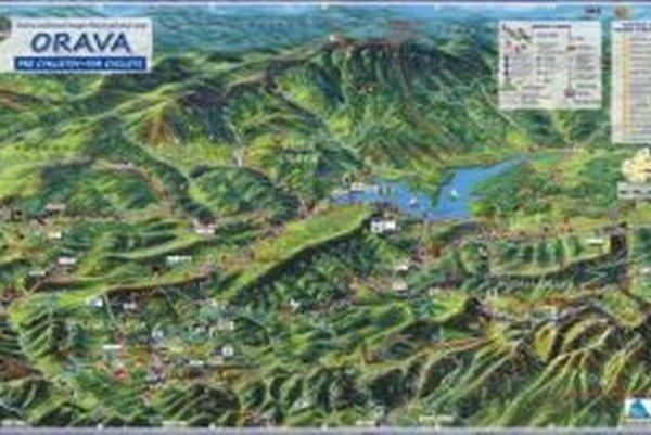 Ručne maľovaná mapa Oravy pre cyklistov.
