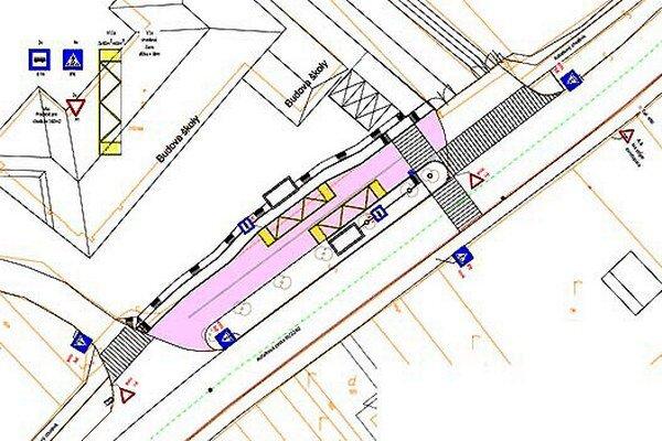 Autobusy budú stáť na zastávke (ružová farba) mimo hlavnej cesty.