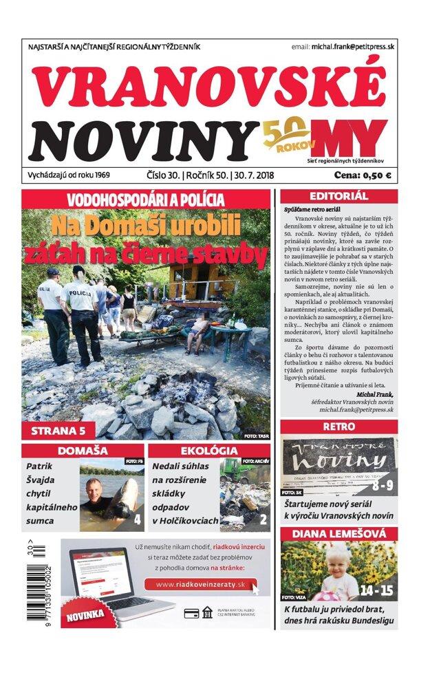Titulná strana týždenníka Vranovské noviny č. 30/2018.