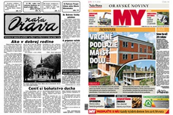 Titulka novín z 31. augusta 1994 a titulka aktuálneho vydania.