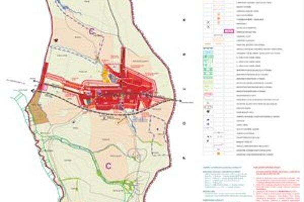 Časť výkresu s návrhom nového územného plánu obce.