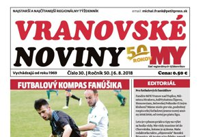 Titulná strana týždenníka Vranovské noviny č. 31/2018.