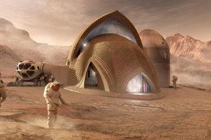 4. miesto: Návrh od tímu SEArch+/Apis Co. V tomto modeli budú obyvatelia Marsu bývať v nafukovacích priestoroch, okolo ktorých tlačiareň vytvorí obal. Ten bude odkláňať nebezpečnú radiáciu a zároveň prepúšťať dovnútra prirodzené svetlo.