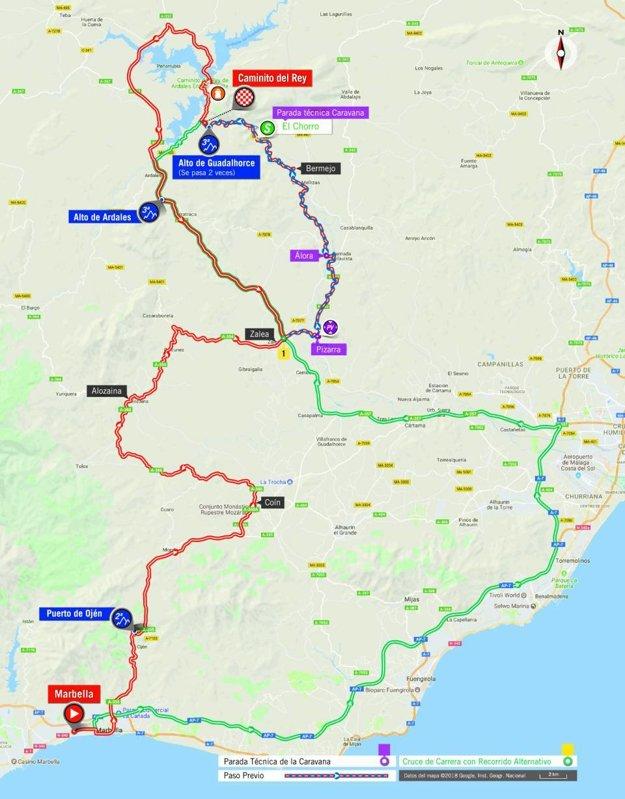 Mapa 2. etapy pretekov Vuelta 2018.