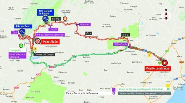 Mapa 7. etapy pretekov Vuelta 2018.