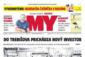 Titulná strana týždenníka MY Zemplínske noviny č. 32/2018.