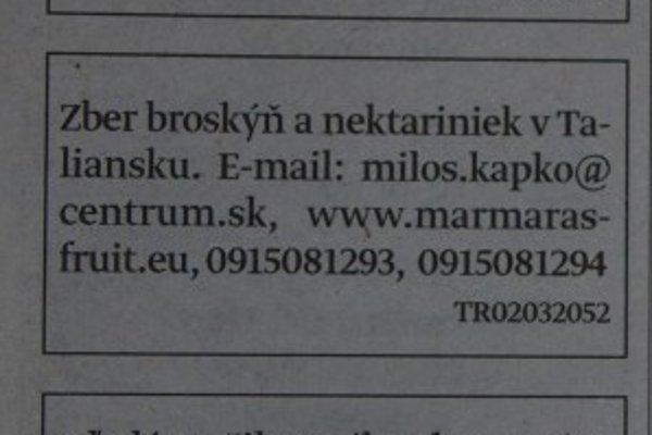 Inzerát, ktorý pripravil dvoch mladých Vavrečanov o 110 eur.