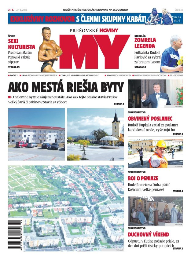 Titulná strana týždenníka MY Prešovské noviny č. 33/2018.