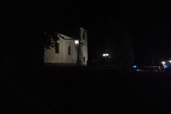 Likvidácia požiaru kaplnky sv. Heleny.
