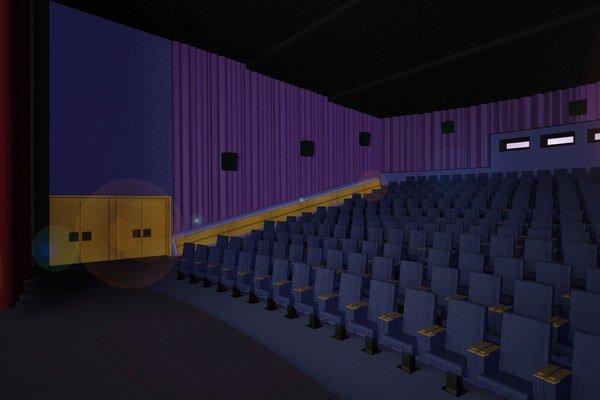 Predbežná vizualizácia kinosály.