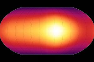 Prvá mapa povrchu exoplanéty. Sptitzer ju vytvoril v máji 2009. Mapa ukazuje teplotné rozdiely na povrchu extrémne horúceho plynného obra HD 189733b.