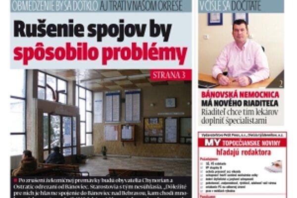 Najnovšie číslo MY Topoľčianskych novín vychádza v utorok.