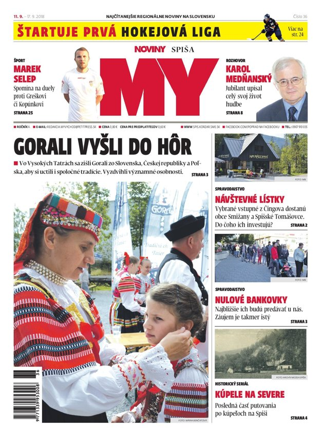 Titulná strana týždenníka MY Noviny Spiša č. 36/2018.