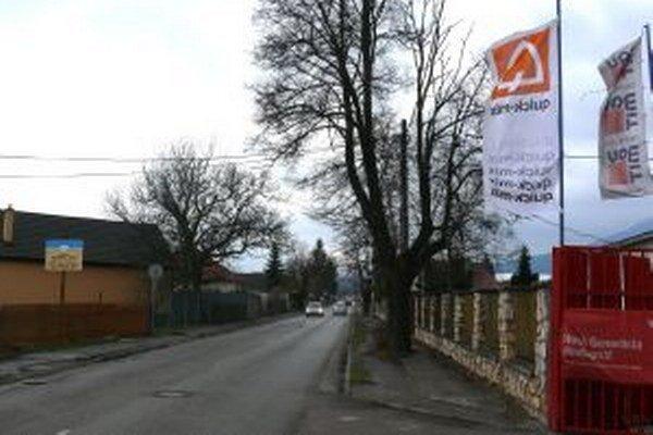 Ulica Na Bystričku. Zasadiť lipy do chodníka nebolo šťastným riešením.