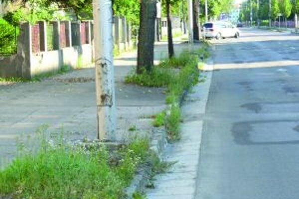 Chodník na Hviezdoslavovej ulici. Tráva vytŕča viac, ako by bolo vhodné.